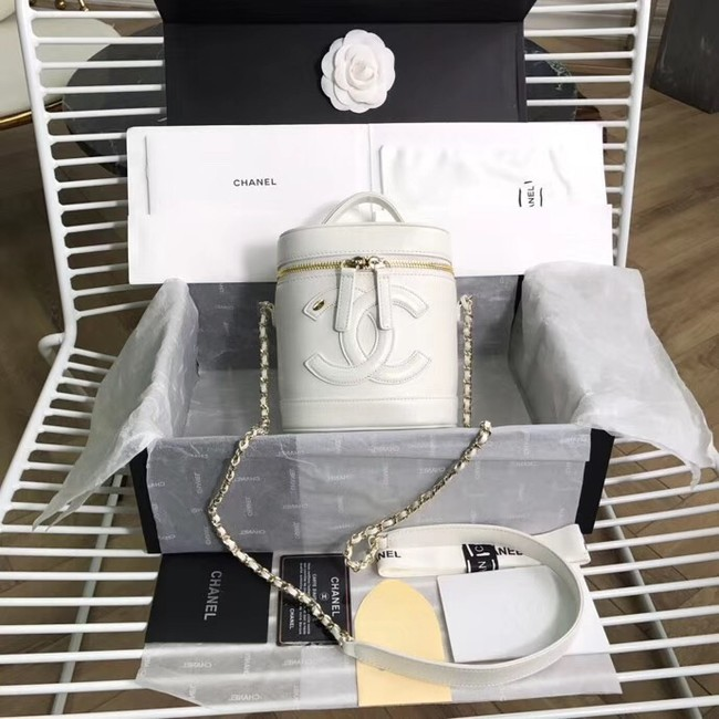 Chanel vanity case Lambskin & Gold-Tone Metal AS0323  white
