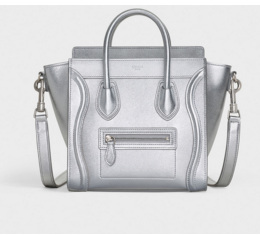 CELINE NANO LUGGAGE BAG IN LAMINATED LAMBSKIN 189243 SILVER