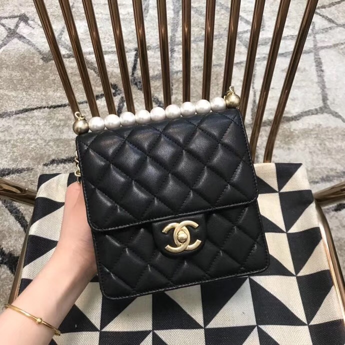 Chanel Flap Shoulder Bag Sheepskin Leather 77398 black