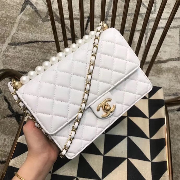Chanel Flap Shoulder Bag Sheepskin Leather 77399 white