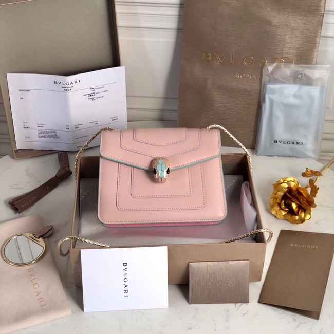 BVLGARI mini Shoulder Bag Calfskin Leather BG2283 pink
