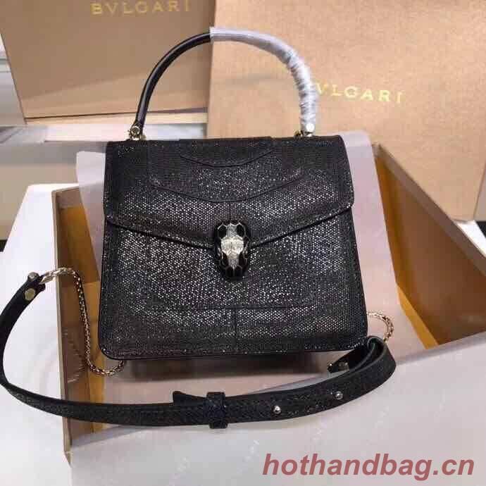 BVLGARI Serpenti Forever metallic-leather shoulder bag 058962 Black
