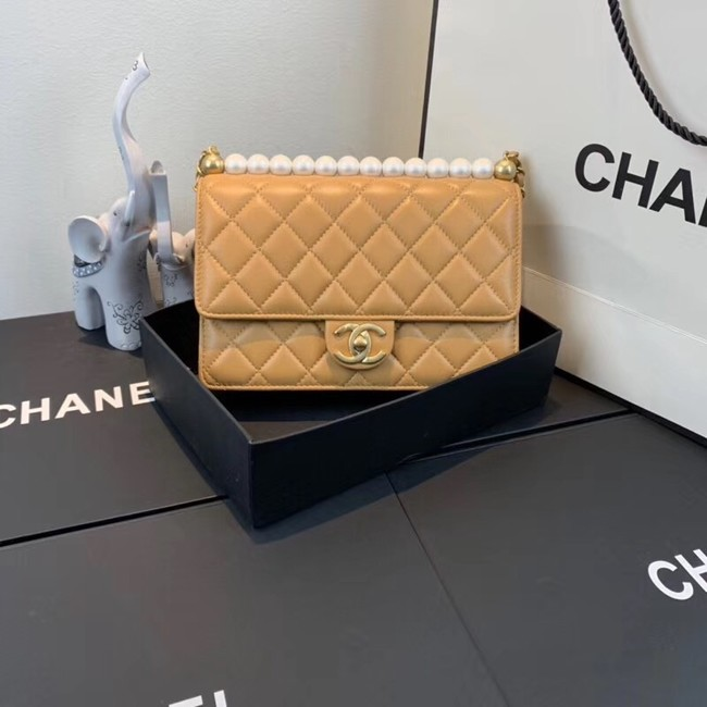 Chanel Flap Shoulder Bag Sheepskin Leather 77399 light tan