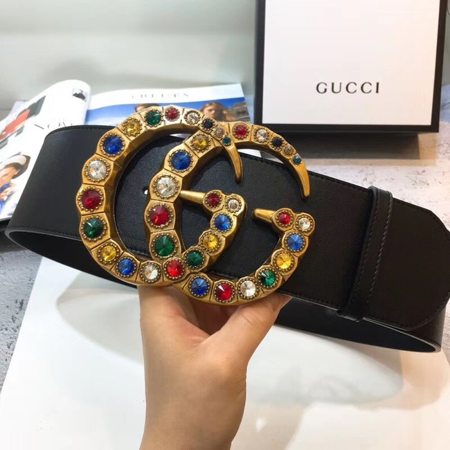 Gucci Leather belt with crystal Double G buckle ‎550111 black