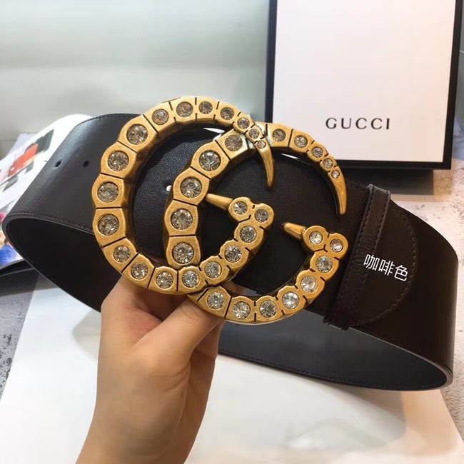 Gucci Wide leather with crystal Double G buckle 550110 Chocolates