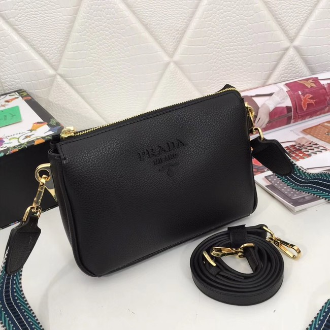 Prada leather shoulder bag 66136 black