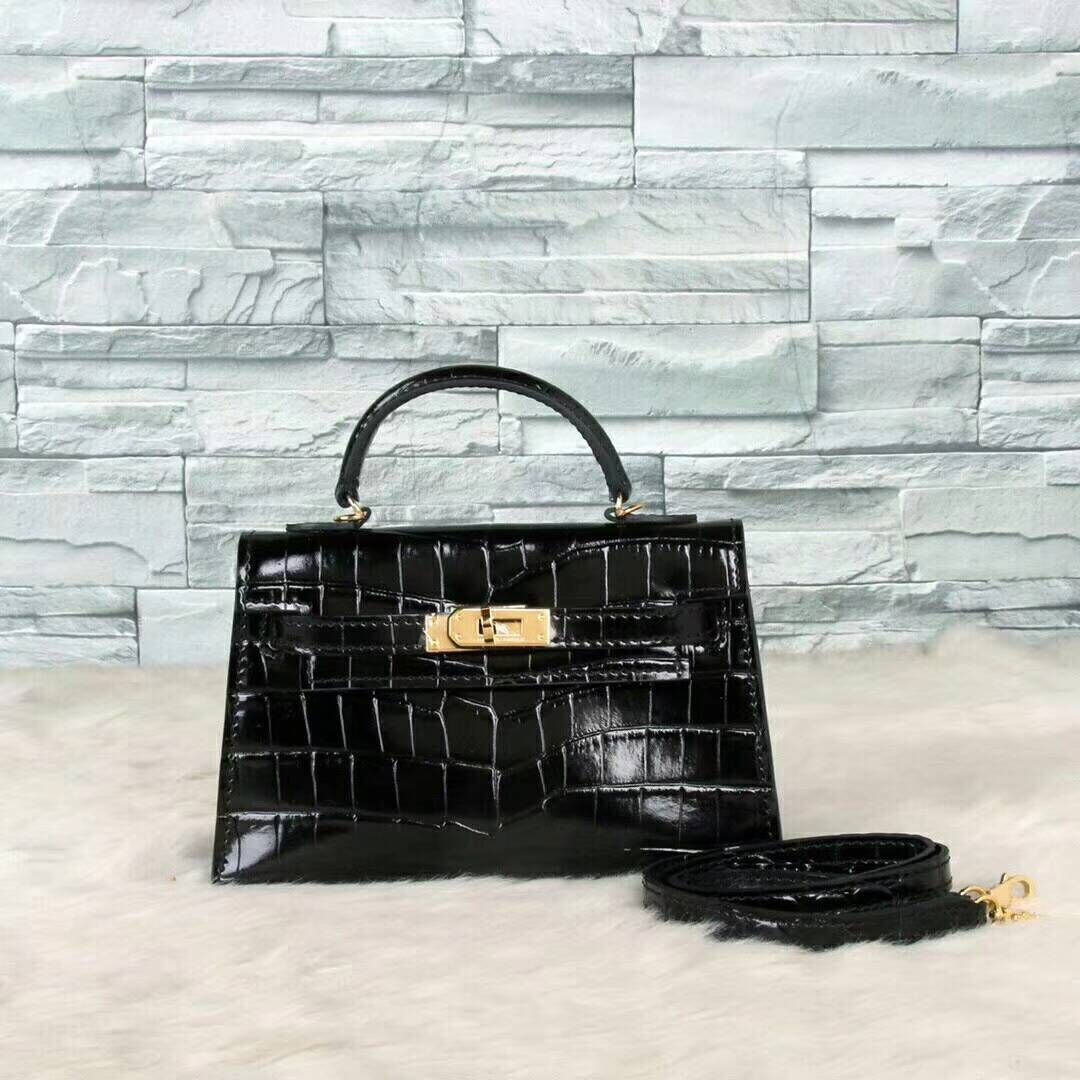 Hermes Kelly 19cm Tote Bag crocodile Leather KL19 Black
