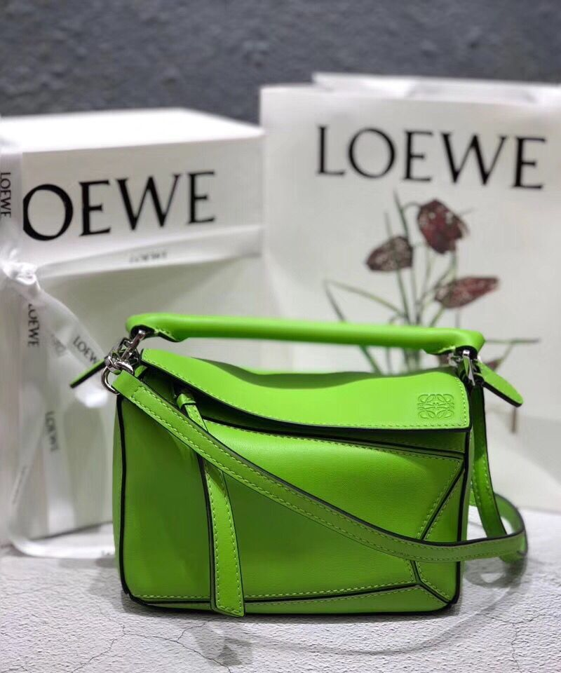 Loewe Mini Puzzle Bag Original Leather B9125 Green