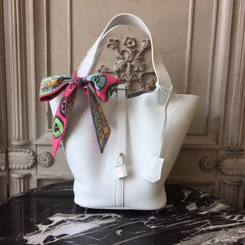Hermes Picotin Lock 22cm Bags Litchi Leather HPT22 White