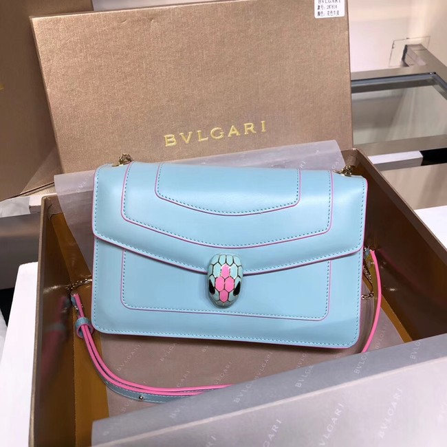 BVLGARI Serpenti Forever metallic-leather shoulder bag 39174 light blue