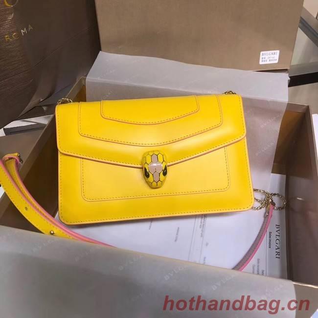 BVLGARI Serpenti Forever metallic-leather shoulder bag 39174 yellow