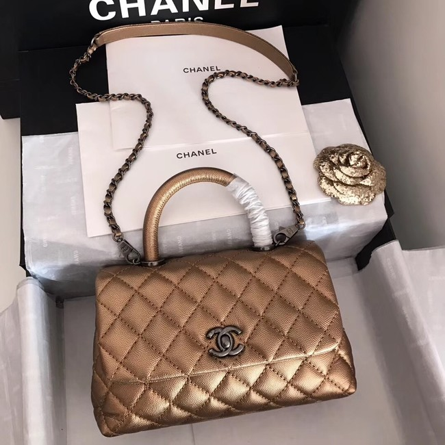 Chanel original Caviar leather flap bag top handle A92290 bronze&silver-Tone Metal
