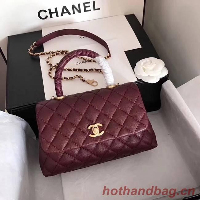 Chanel original Caviar leather flap bag top handle A92290 purple&Gold-Tone Metal