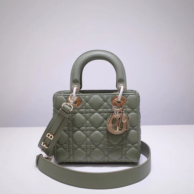 Dior lucky badges Original sheepskin Tote Bag A88035 green