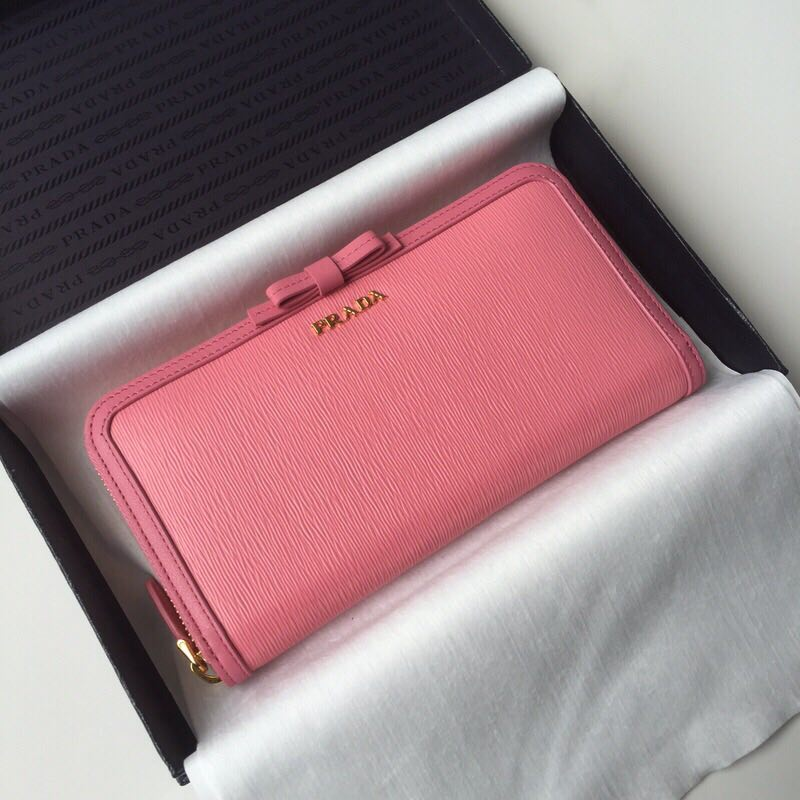 Prada Leather Large Zippy Wallets 1ML506 pink