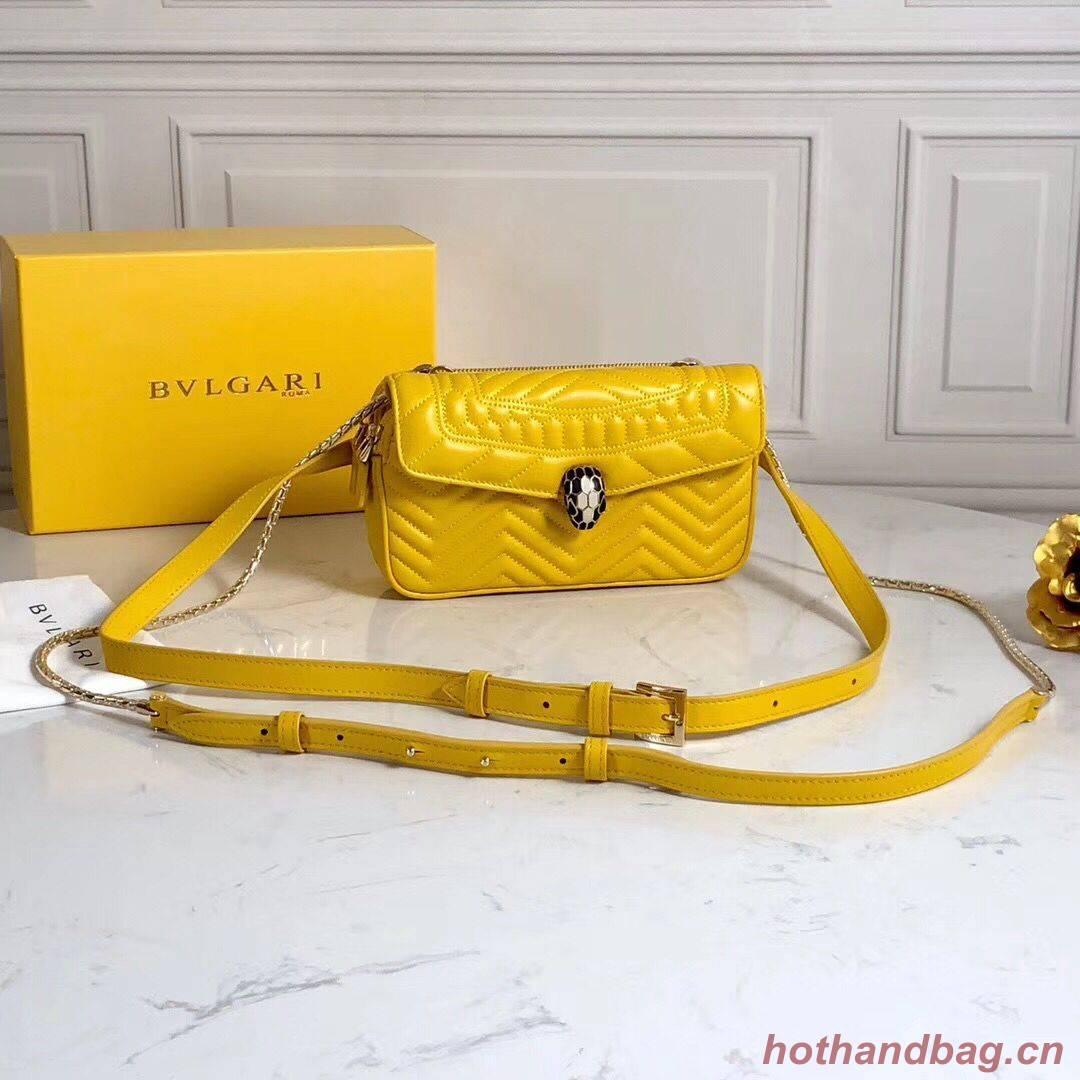 BVLGARI Serpenti Forever Original Calfskin Leather Belt Bag 287852 Yellow