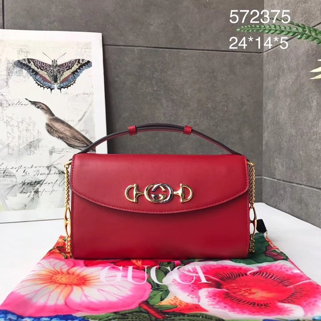 GUCCI Zumi small leather shoulder bag 572375 red