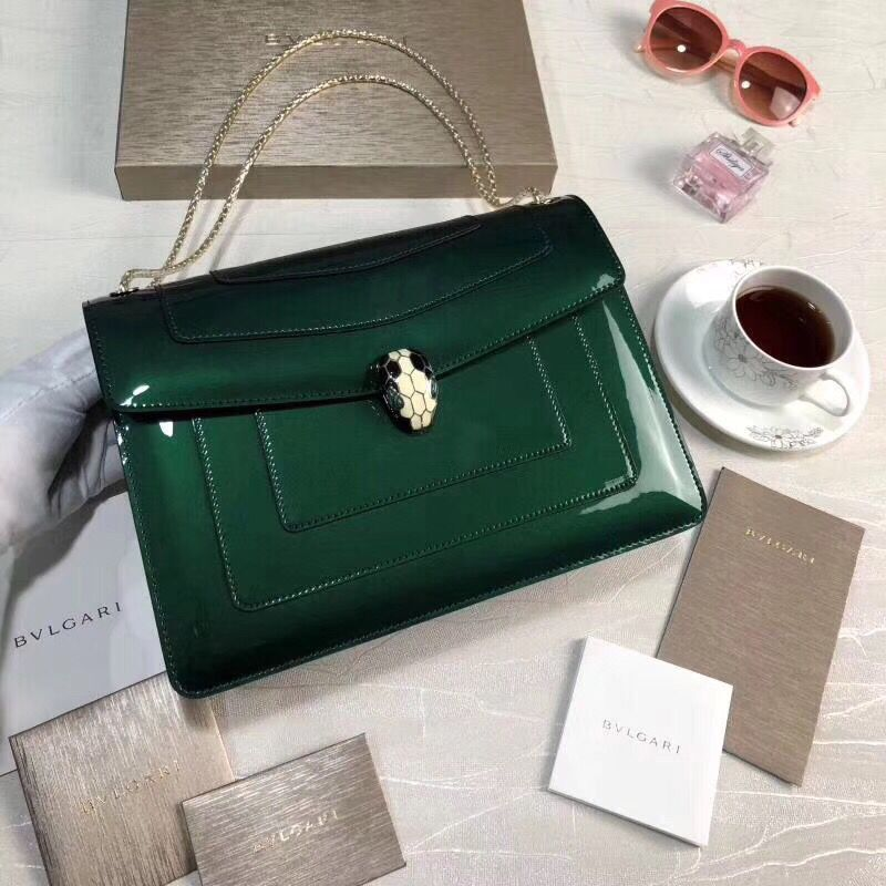 BVLGARI Serpenti Forever leather shoulder bag 35108 Green