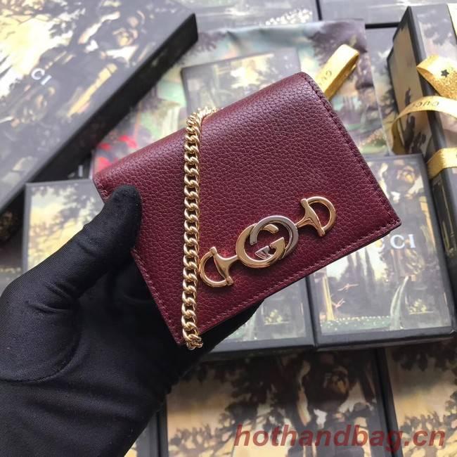 Gucci Zumi Card Holder 570660 Bordeaux