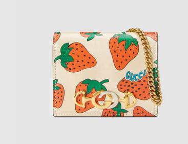 Gucci Zumi Card Holder 570660 Strawberry