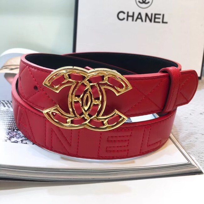 Chanel Calf Leather Belt Wide with 32mm 56608
