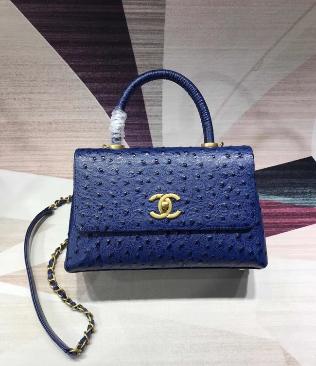 Chanel flap bag with top handle B93737 blue