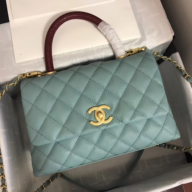 Chanel Small Flap Bag with Top Handle A92991 green