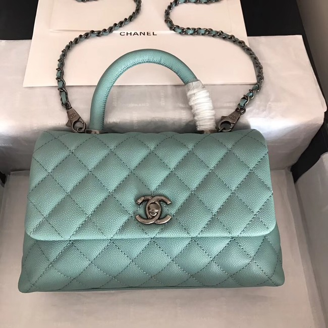 Chanel original Caviar leather flap bag top handle A92290 green &Silver-Tone Metal