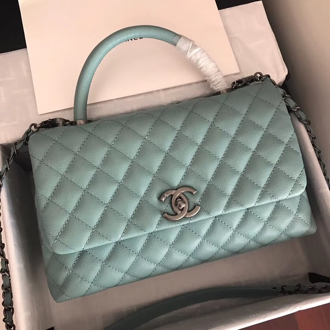 Chanel original Caviar leather flap bag top handle A92292 green &Silver-Tone Metal