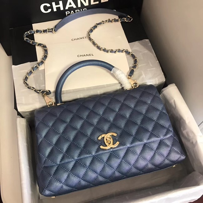 Chanel original Caviar leather flap bag top handle A92292 blue&Gold-Tone Metal