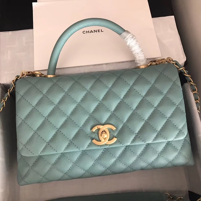 Chanel original Caviar leather flap bag top handle A92292 green &Gold-Tone Metal