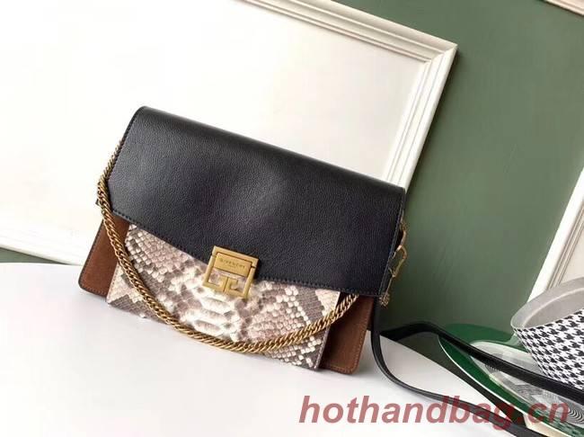 GIVENCHY GV3 python and leather shoulder bag 61433 black