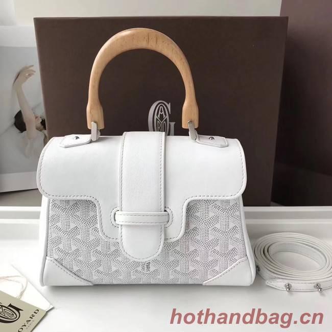 Goyard Calfskin Leather Mini Tote Bag 9955 white