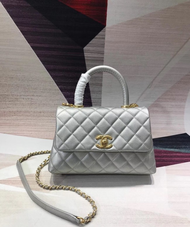 Chanel original Caviar leather flap bag top handle A92290 silvery &gold-Tone Metal