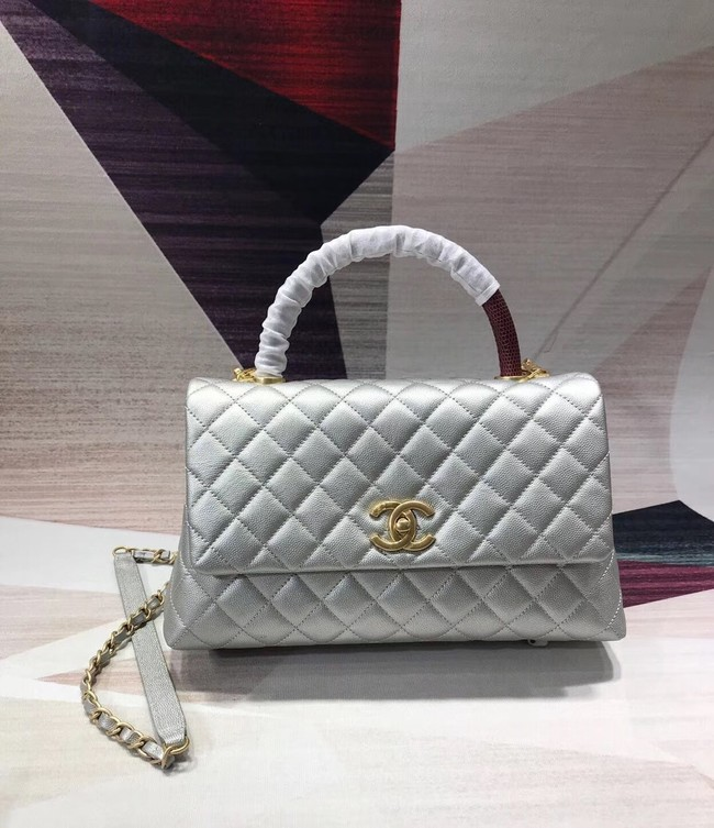 Chanel original Caviar leather flap bag top handle B92291 silvery &gold-Tone Metal