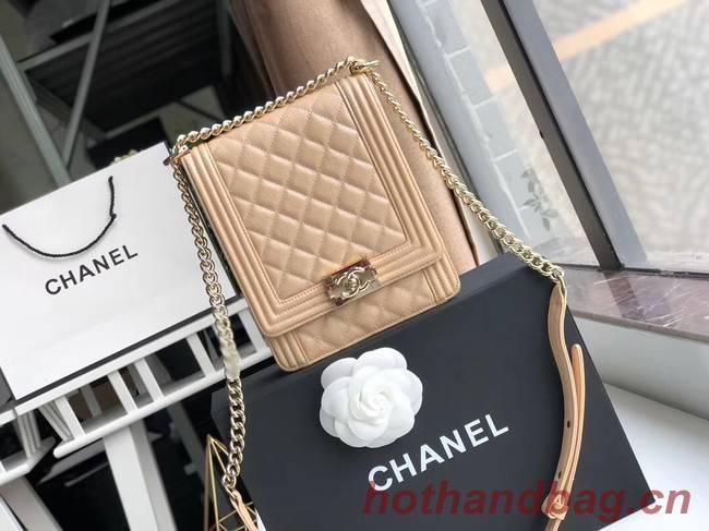 Boy chanel handbag Grained Calfskin & Gold-Tone Metal AS0130 Camel