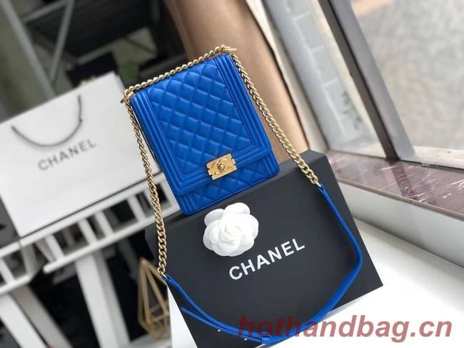 Boy chanel handbag Grained Calfskin & Gold-Tone Metal AS0130 blue