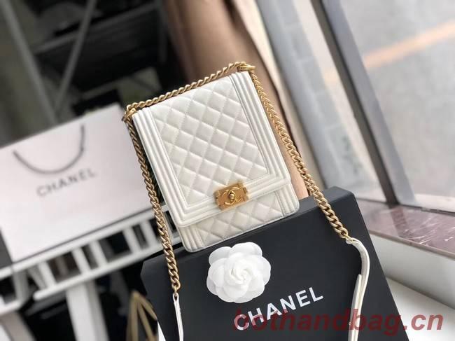 Boy chanel handbag Patent leather & Gold-Tone Metal AS0130 white