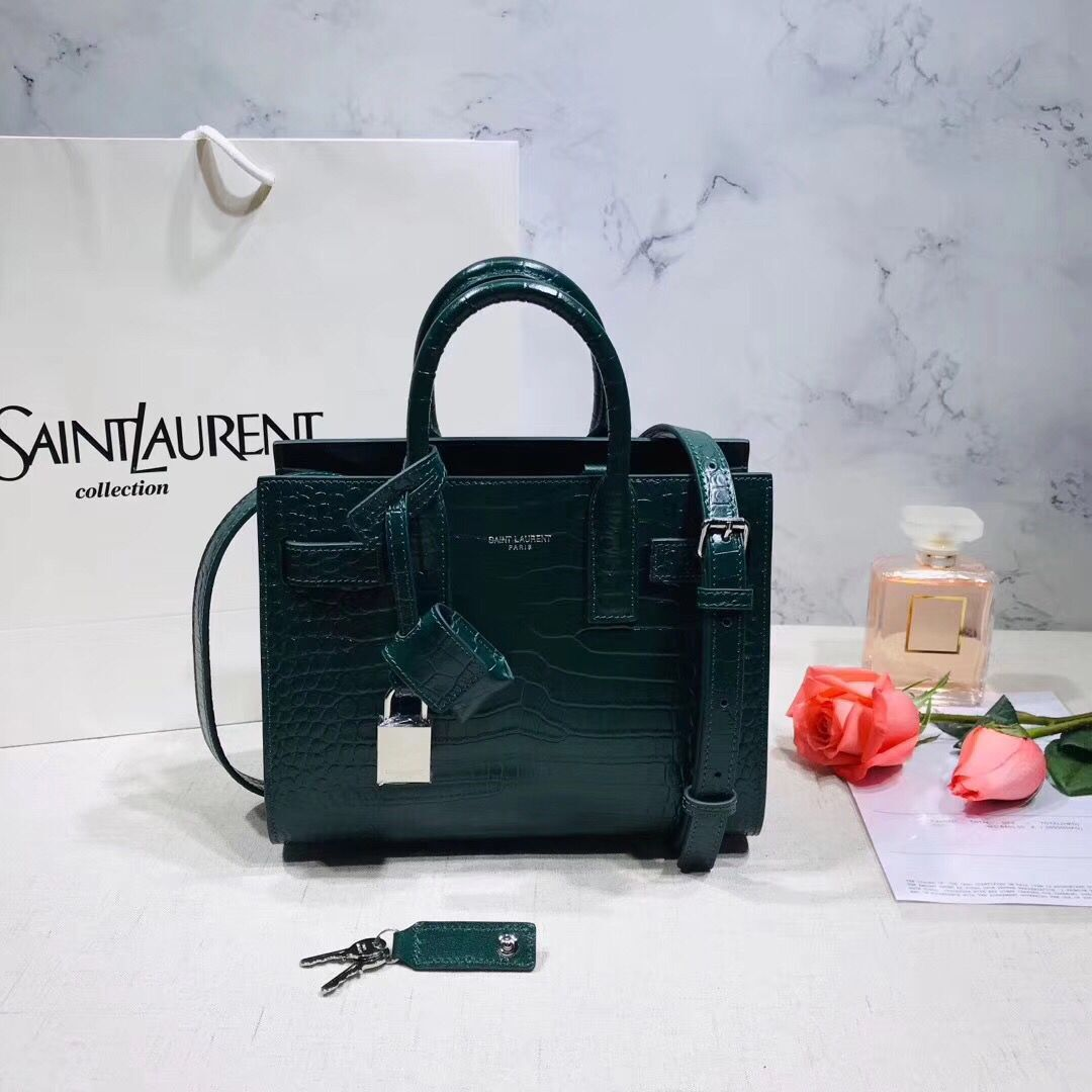 SAINT LAURENT Crocodile-Embossed Leather Organ Bag 392035 Dark Green