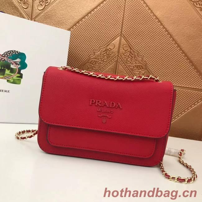 Prada Calf leather shoulder bag 3011 red