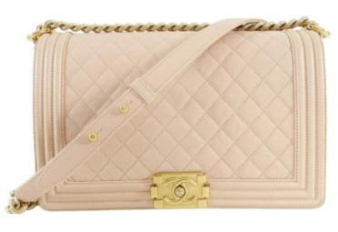 Chanel Leboy Original Caviar leather Shoulder Bag apricot A67086 Gold