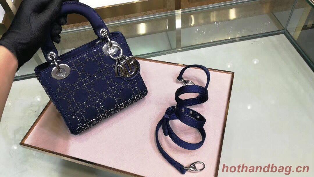 Dior Lady Original Silk Satin-Encrusted Satchel Bag 2369 Navy