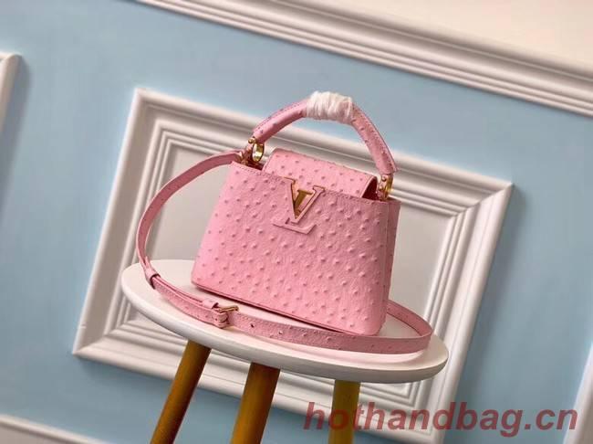 Louis vuitton original Ostrich pattern CAPUCINES Mini M44611 Eau de Rose