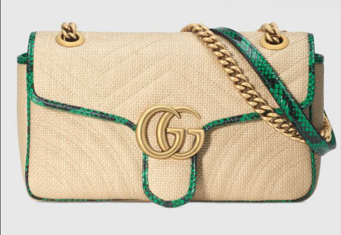 Gucci Online Exclusive GG Marmont raffia small shoulder bag 443497