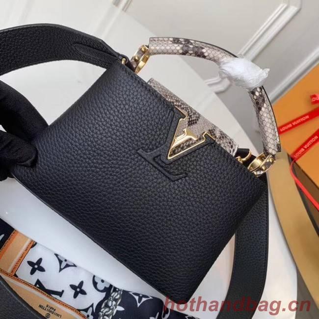 Louis vuitton original taurillon leather Capucines Mini N95509 black