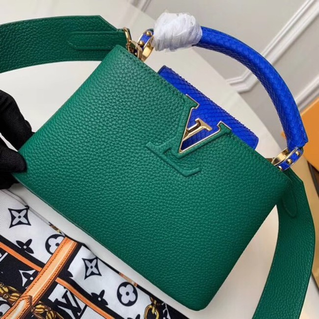 Louis vuitton original taurillon leather Capucines Mini N95509 green