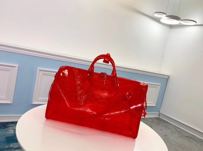 Louis Vuitton KEEPALL 50 Travel Bag with shoulder straps M53271 red