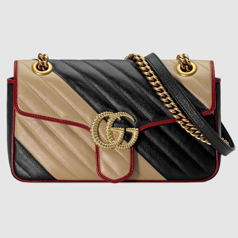 Gucci GG Marmont small shoulder bag 443497 Beige and black