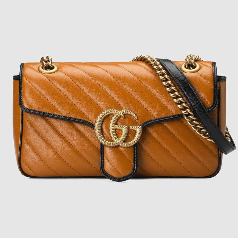 Gucci GG Marmont small shoulder bag 443497 Cognac diagonal