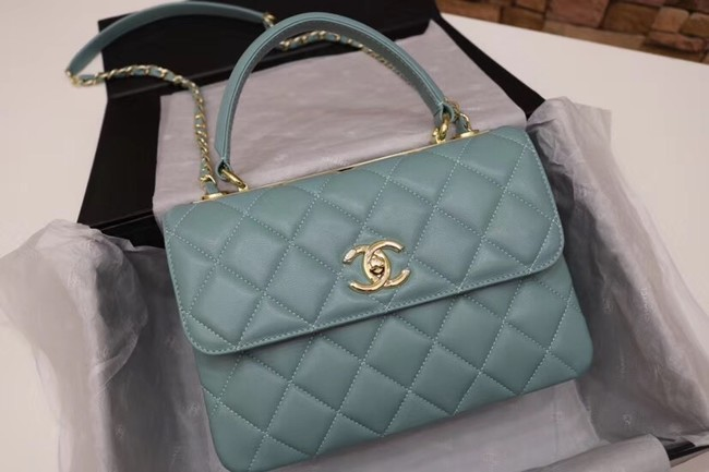 Chanel CC original lambskin top handle flap bag 92236 green&Gold-Tone Metal